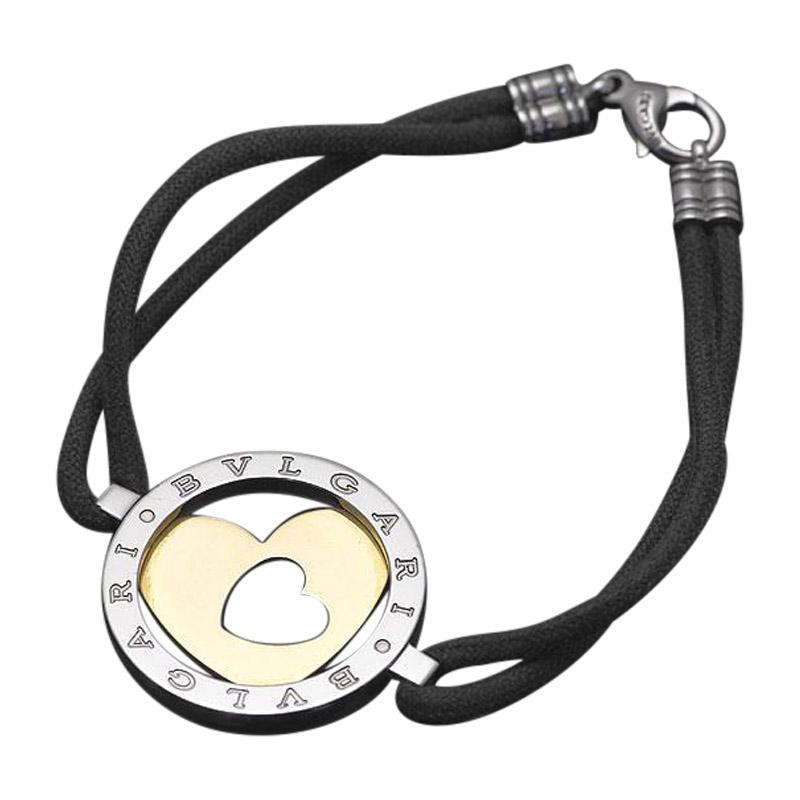 "Image of ""Bulgari 750 Yellow Gold & Stainless Steel Tondo Heart Bracelet Bangle"""