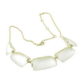 Alexis Bittar Rhodium with Lucite & Crystal Pebbled Necklace