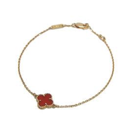 Van Cleef & Arpels 18k Rose Gold Alhambra Carnelian Bracelet