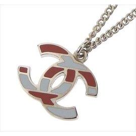 Chanel Silver Tone Metal Coco Mark Stripe Necklace
