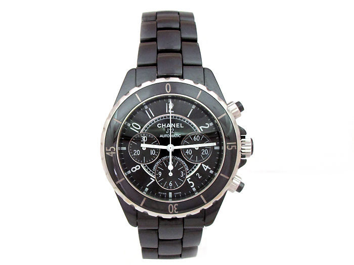 "Image of ""Chanel J12 Stainless Steel and Ceramic Black Chronograph 41mm Mens"""