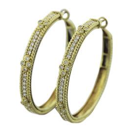 Judith Ripka 18K Yellow Gold & 0.96ct Diamond Hoop Earrings