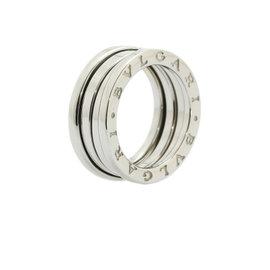 Bulgari B.Zero1 18k White Gold Three Band Ring Size 4.25