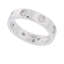 Cartier Mini Love 18k White Gold 0.19ct. Diamond Ring Size 4.75
