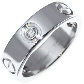 Cartier Love Half Diamond 18k White Gold Ring Size 5.25