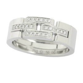Cartier Maillon Panthere 18k White Gold 0.05ct. Diamond Ring Size 5.25