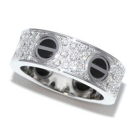 Cartier Love 750 White Gold & Ceramic Diamond Ring Size 4.5