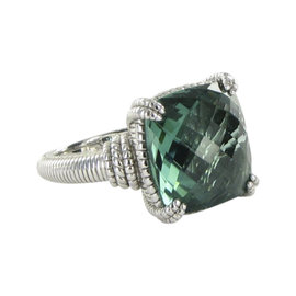 Judith Ripka La Petite 925 Sterling Silver Green Quartz Ring Size 7