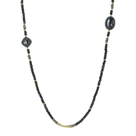 David Yurman Chatelaine Bijoux 925 Sterling Silver and 18K Yellow Gold with Black Spinel, Pyrite and Hematite Necklace
