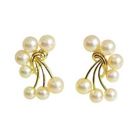 Mikimoto 585 Yellow Gold Pearl Earrings