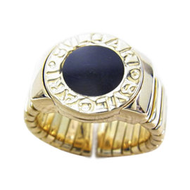 Bulgari Tubogas 750 Yellow Gold Onyx Ring Size 6.25