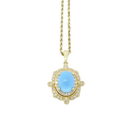 Effy 14K Yellow Gold with 0.15ct. Diamond & Turquoise Necklace