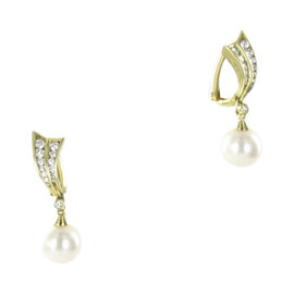Mikimoto 18K Yellow Gold with Pearl and 0.45ct Diamond Earrings