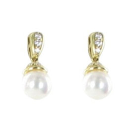 Mikimoto 18K Yellow Gold with Pearl and 0.25ct Diamond Earrings