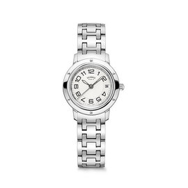 Hermes Clipper PM Stainless Steel Silver Dial Quartz 24mm Womens Watch