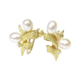 Mikimoto 750 Yellow Gold and Pearl Earrings