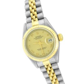 Rolex Datejust 79173 18K Yellow Gold and Stainless Steel Jubilee Roman Champagne Dial 26mm Womens Watch