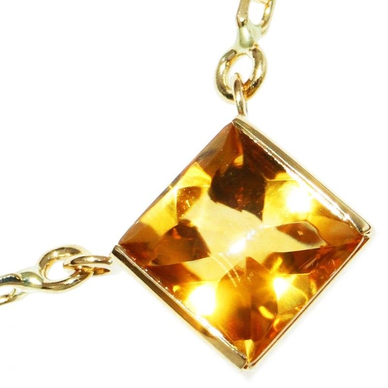 """""""""""Cartier 18k Yellow Gold Citrine Tank Necklace"""""""""""" 1714991"""
