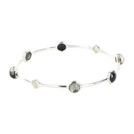 Ippolita Rock Candy 925 Sterling Silver Mother of Pearl, Quartz, Onyx & Hematite Bangle Bracelet