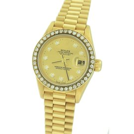 Rolex Datejust President 69178 18K Yellow Gold Diamond 26mm Womens Watch