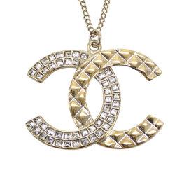 Chanel Gold Tone Metal Rhinestone Coco Mark Pendant Necklace
