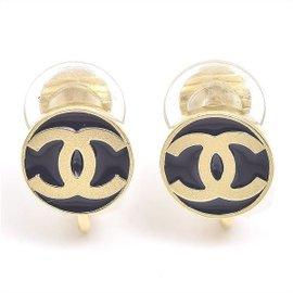 Chanel Gold Tone Coco Button Motif Earrings
