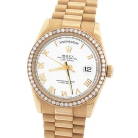 Rolex Day-Date President 118235 with Custom Diamond Bezel 18K Everose Rose Gold Roman 36mm Mens Watch