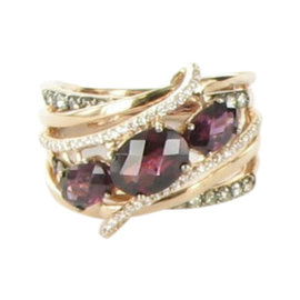 Le Vian Chocolatier 14K Rose Gold with Diamond, Rhodolite and Garnet Ring Size 7