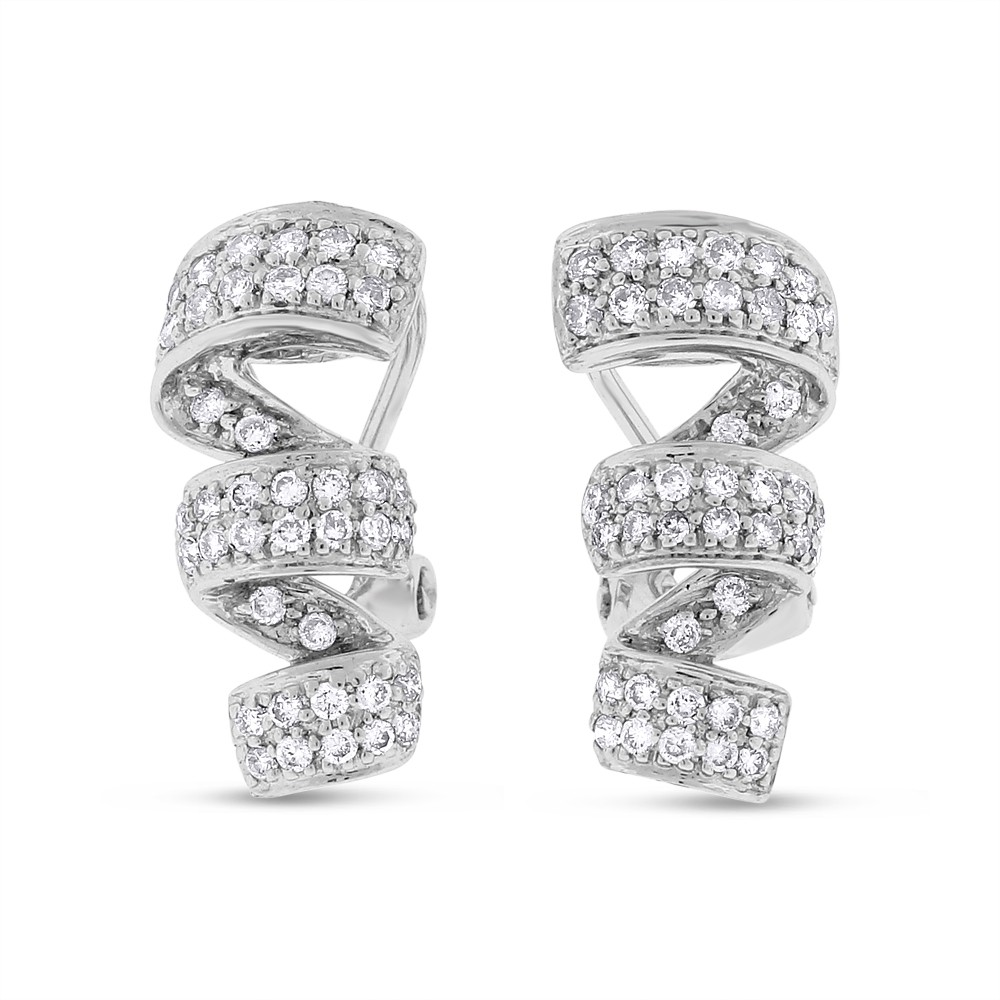 "Image of ""0.65 CT Natural Diamond Twist Fancy Earrings in Solid 14k White Gold"""