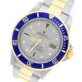 Rolex Submariner 16613 Serti Two-Tone Sapphire Diamond Slate Blue 40mm Mens Watch