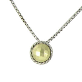 David Yurman Chatelaine 925 Sterling Silver and 18K Yellow Gold Petite Necklace