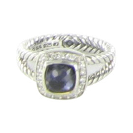 David Yurman Petite Albion 925 Sterling Silver with 0.17ct Diamond, Hematite and Amethyst Ring Size 7