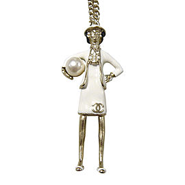 Chanel Silver Tone Hardware & Pearl Coco Pendant Necklace
