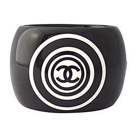 Chanel Coco Mark Black Plastic Bangle Bracelet