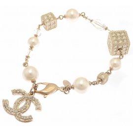 Chanel Coco Mark Gold Tone Hardware Rhinestone Faux Pearl Bracelet