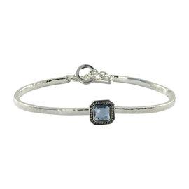 Ippolita Stella 925 Sterling Silver 0.11cts Diamonds Blue Topaz Toggle Bracelet