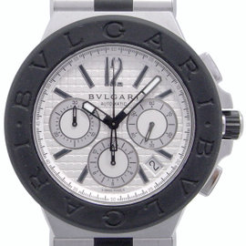 Bulgari Diagono Chronograph DG42SVCH Stainlress Steel Rubber Silver Dial Automatic 42mm Mens Watch