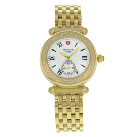 Michele Caber MWW16A000065 Yellow Gold Tone Stainless Steel wDiamonds Quartz 37mm Womens Watch