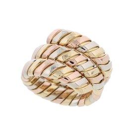 Bulgari Tubogas 18K Rose White Yellow Gold Snake Ring Size 6.5
