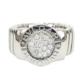 Bulgari Tubogas White Gold 750 Pave Diamond Ring Size 4