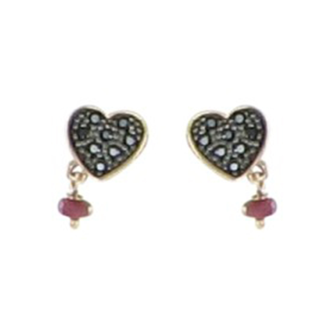 "Image of ""Tous 18K Pink Gold Plated 925 Sterling Silver with Black Spinel & Ruby"""