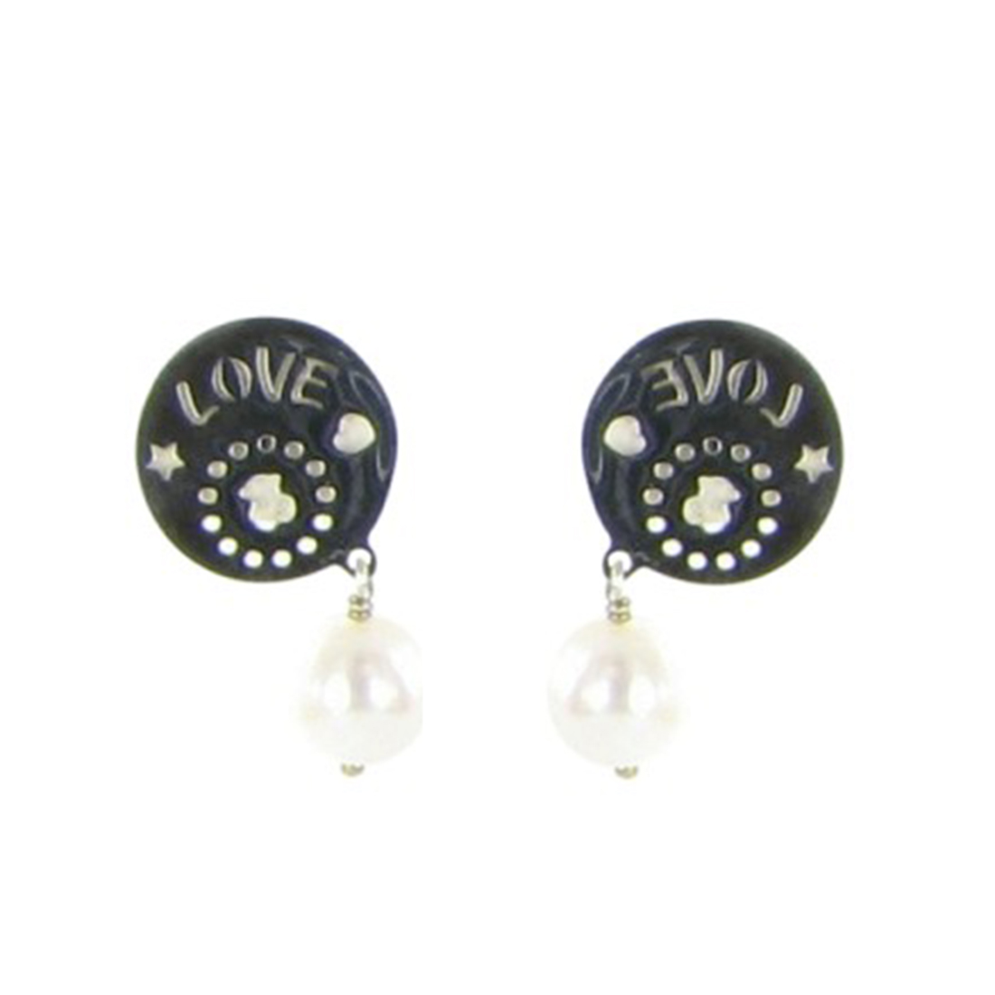 """Image of """"Tous 925 Sterling Silver & Pearl Disk Dangling Earrings"""""""