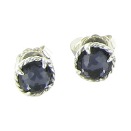 David Yurman Chatelaine 925 Sterling Silver with Amethyst & Mother of Pearl Stud Earrings