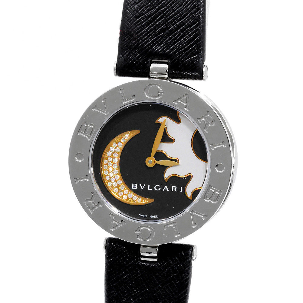 "Image of ""Bulgari B.Zero1 Bz30S Stainless Steel Leather Black Diamond Dial"""