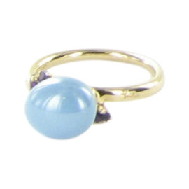 Pomellato Capri 18K Rose Gold with Turquoise and Amethyst Ring Size 7