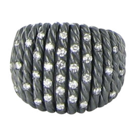 David Yurman Tempo 925 Sterling Silver with Black Rhodium and Diamond Ring Size 7