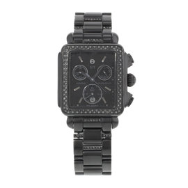 Michele Deco MWW06A000774 Steel PVD Coated & Black Diamonds Quartz 33mm Womens Watch