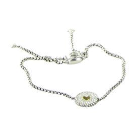 David Yurman Petite Pave 925 Sterling Silver and 18K Yellow Gold with Diamond Heart Bracelet