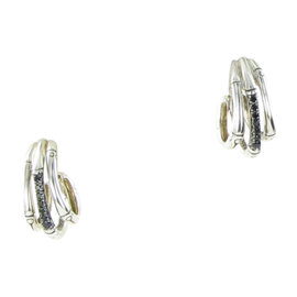 John Hardy Bamboo 925 Sterling Silver with Black Sapphires Triple Hoop Earrings