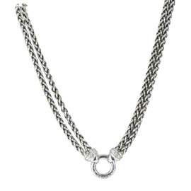 David Yurman 925 Sterling Silver with Diamond Chain Necklace